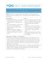 POPS Mindfulness Lesson 1 – Mindfulness is A Superpower