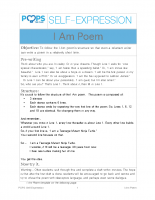 POPS Writing Lesson – The I Am Poem