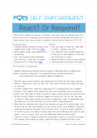 POPS Mindfulness Lesson 3 – React or Respond